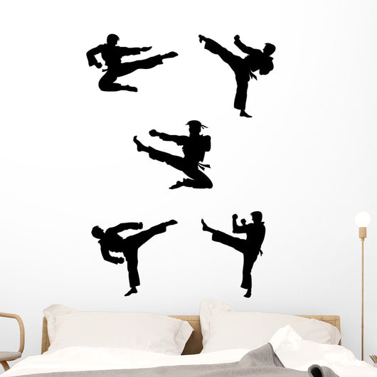 Karate Fighters Silhouettes Wall Decal