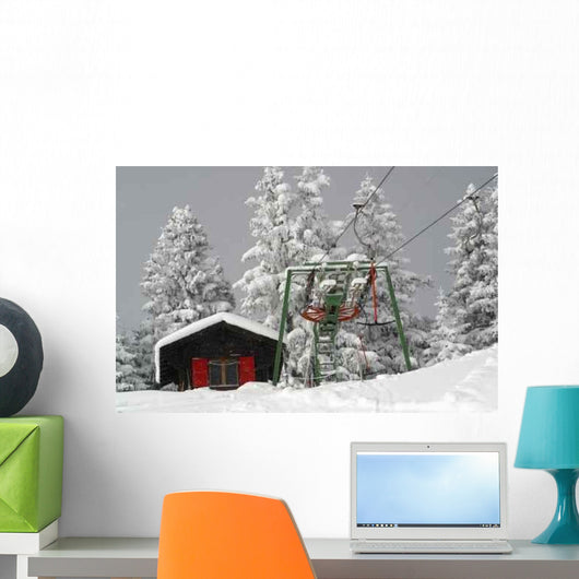 Ski Lift Snow Wall Decal