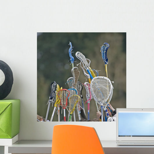 Lacrosse Sticks To-the-sky Wall Decal