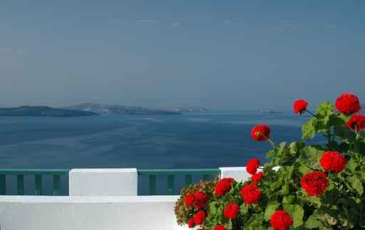 Incredible Santorini Patio with Wall Decal Design 1