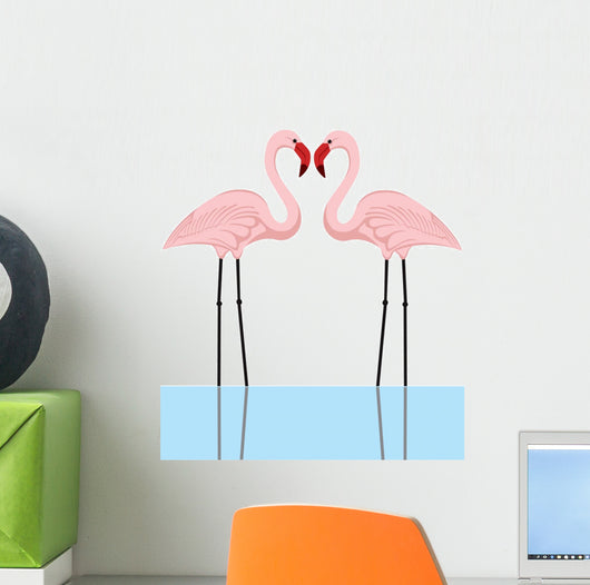 illustration of a couple of pink flamingos in a lake Wall Decal