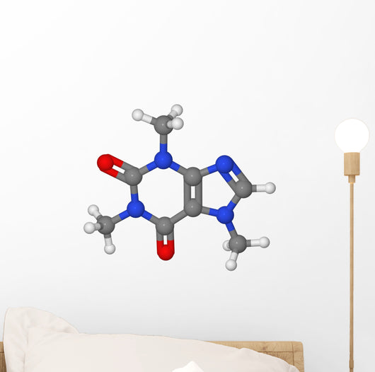 Ball and stick model of caffeine molecule Wall Decal
