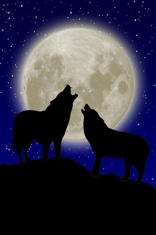 Wolves against Moon Wall Decal Design 2