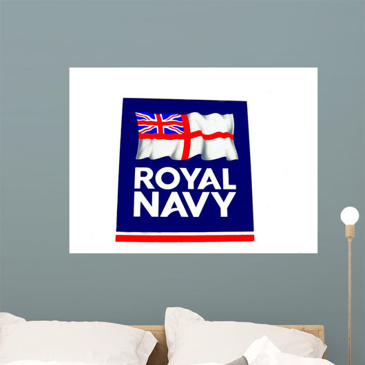 Royal Navy Sign With Flag Wall Mural