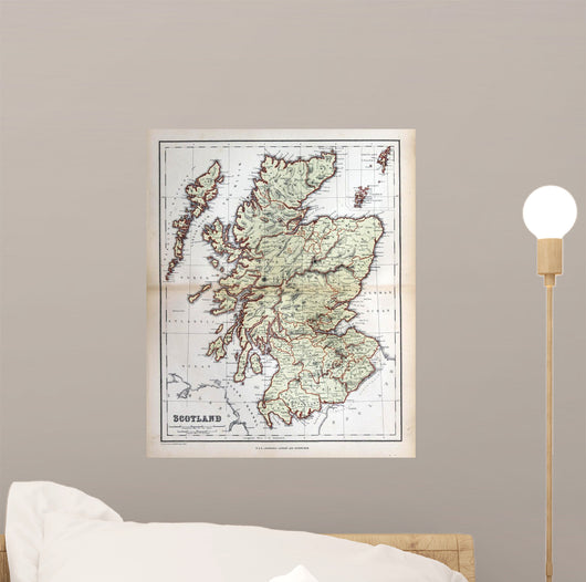 Old Map Scotland 1870 Wall Mural – WallMonkeys com