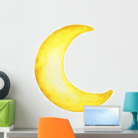 Yellow Crescent Moon Wall Decal Wallmonkeys Com