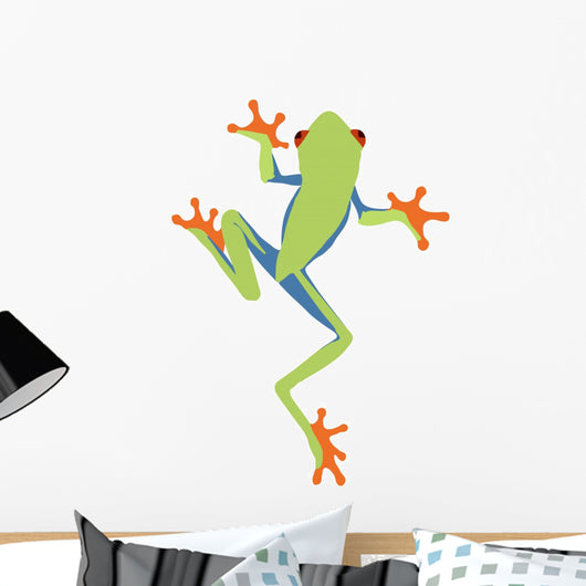 Frog Decals - Red-Eyed Tree Frog Cartoon Climing Wall Decal