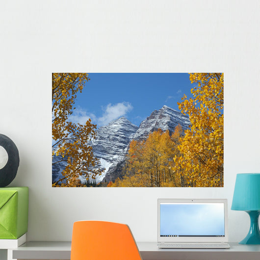 Maroon Bells and Golden Aspens Wall Mural