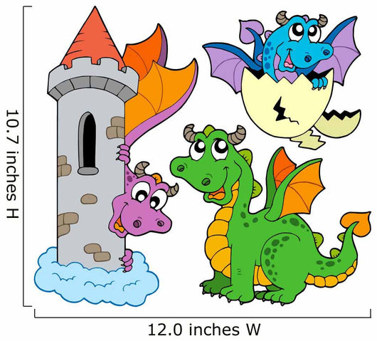 Cute Dragons Collection Wall Decal