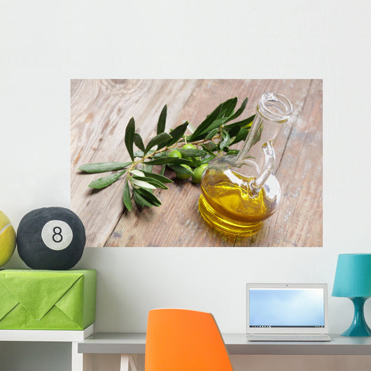 Olive oil with olive branch Wall Mural