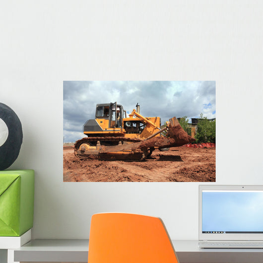 The Heavy Building Bulldozer of Yellow Color Wall Mural