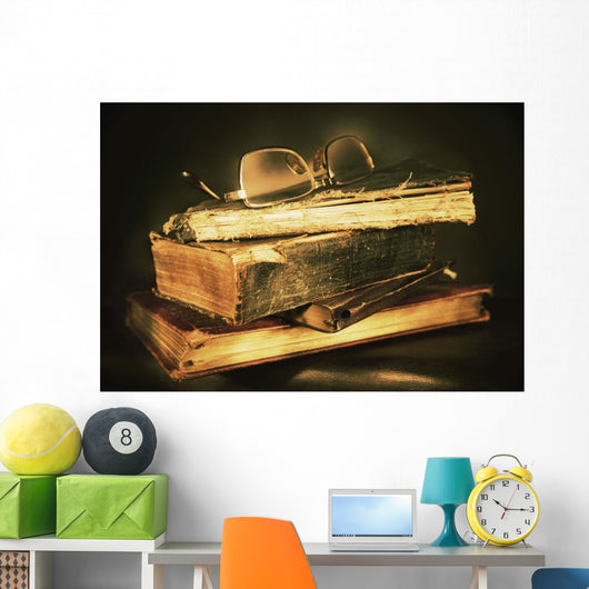 Glasses On Top Of Books Wall Mural