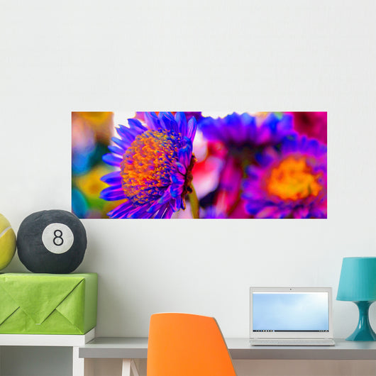 Bright Neon Flowers Wall Mural