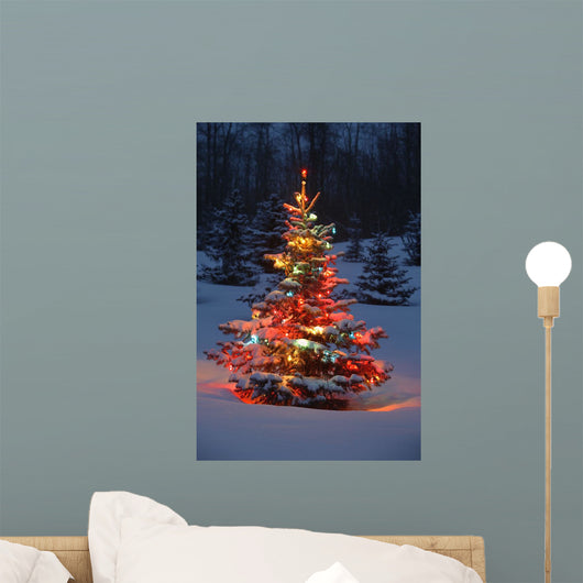 Christmas Tree With Lights Outdoors In The Forest Wall Mural