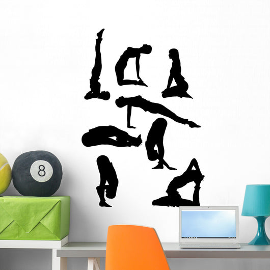 Yoga Poses in Silhoutte Wall Decal