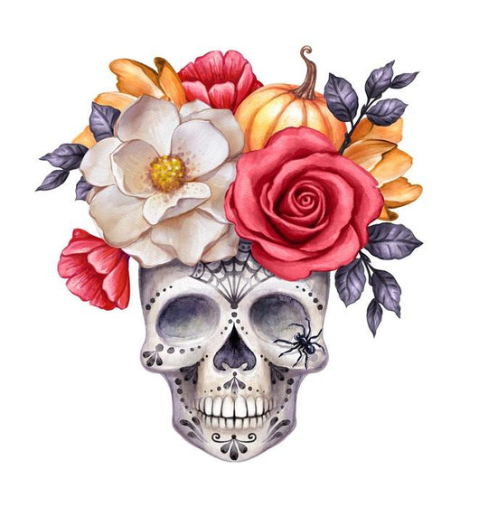 Halloween Floral Skull Wall Decal
