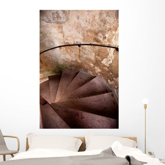 Old Spiral Stairways in Castle Wall Mural