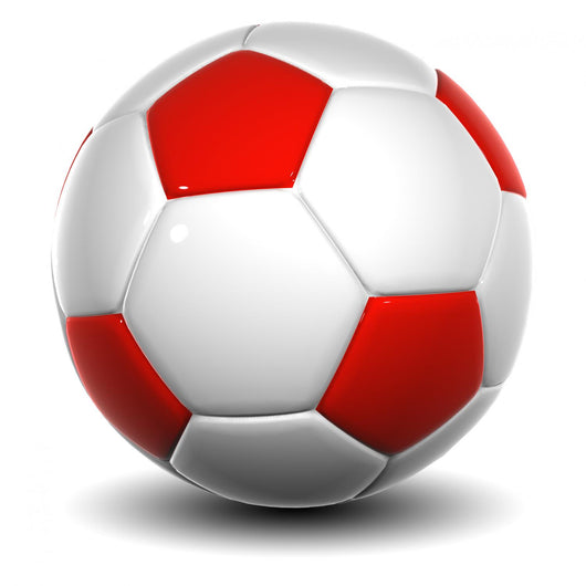3d white and red leather soccer ball isolated Wall Decal