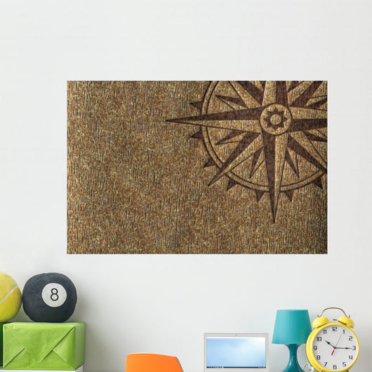 Compass Rose on Wood Texture Wall Mural
