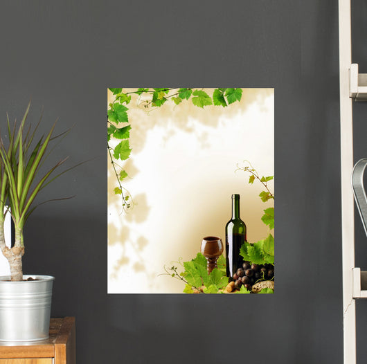 Red wine and grapevine frame Wall Mural