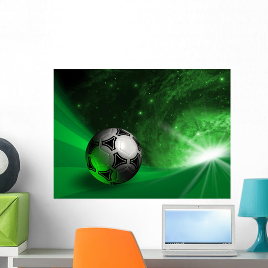 Futuristic Background With Soccer Ball Wall Mural