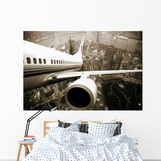 Airplane Take Off From the City Night Wall Mural