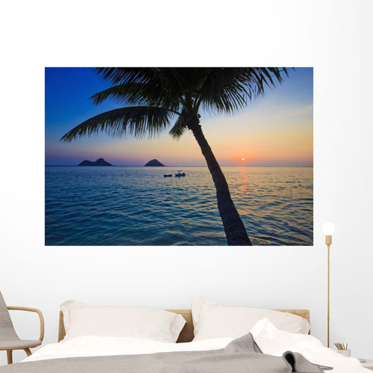 Pacific Sunrise with Palm Wall Mural