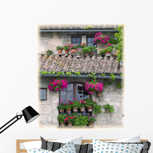 Flower Pots In Windows In Arles, Provence, France Wall Mural