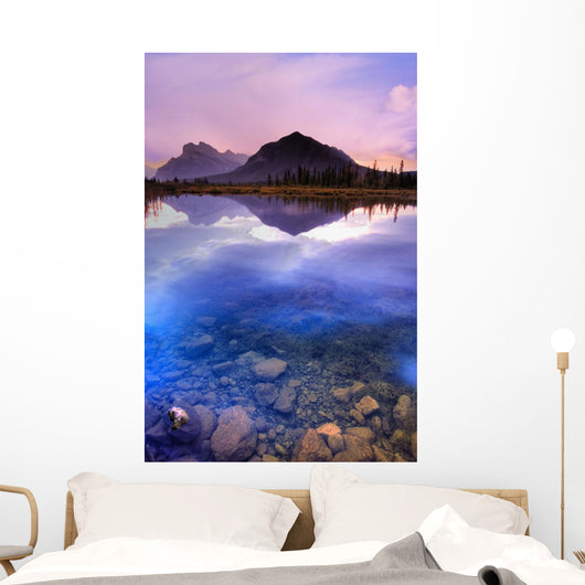 Vermilion Lakes, Mount Rundle, Banff National Park, Alberta, Canada Wall Mural