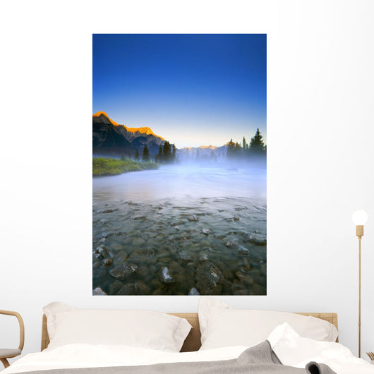 Sunrise And Early Morning Mist On Mountain River Wall Mural