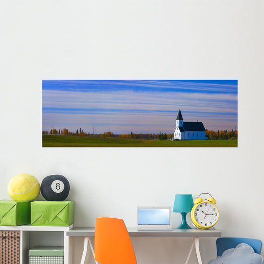 Traditional Prairie Steeple Church In The Morning Wall Mural