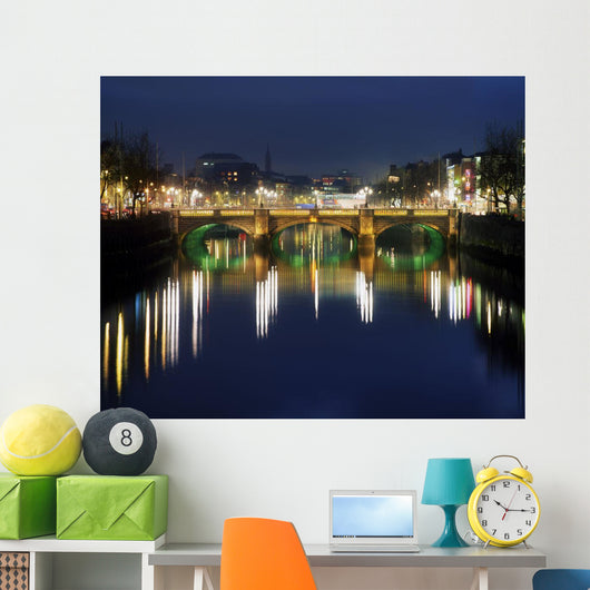 River Liffey At Night, O'connell Street Bridge, Dublin, Ireland Wall Mural