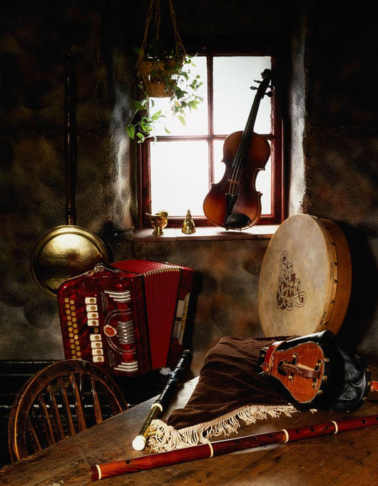 Traditional Musical Instruments, In Old Cottage, Ireland Wall Mural