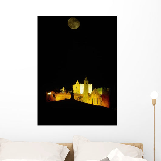Moon Over Rock Of Cashel, Co Tipperary, Ireland Wall Mural