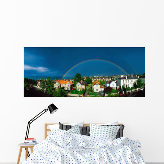 Rainbow Over Housing, Monkstown, Co Dublin, Ireland Wall Mural
