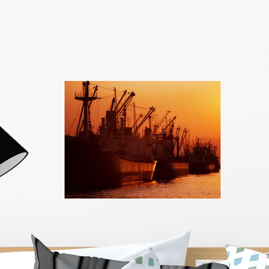 Shipping Freighters At Sunset Wall Mural