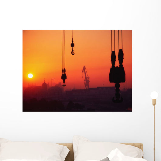 Cranes At Sunset Wall Mural