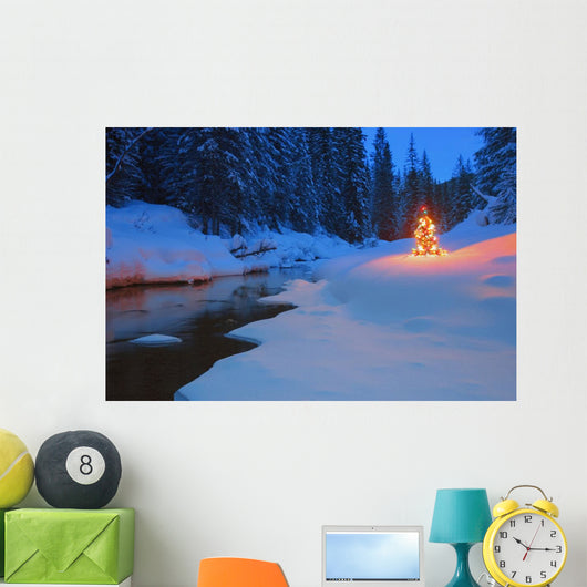 Glowing Christmas Tree By Mountain Stream Wall Mural