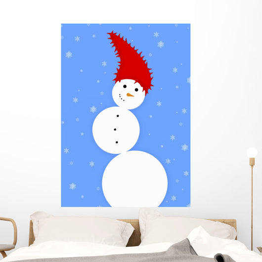 Illustration Of A Snowman Wall Mural