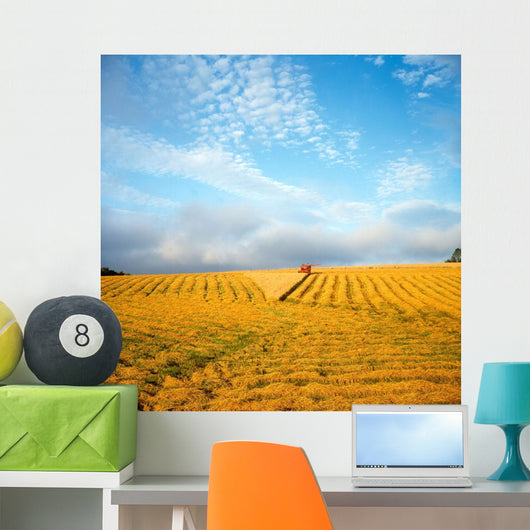 Combine Harvesting A Wheat Field Wall Mural
