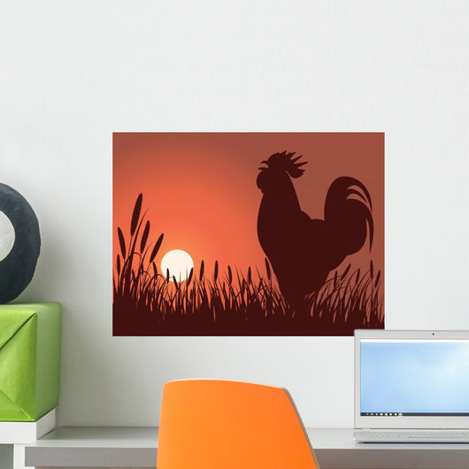 rooster greeting sunrise Wall Mural