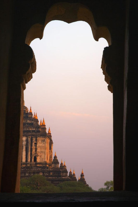 Temple At Sunset Seen From Temple Window In Myanmar, Burma Wall Mural