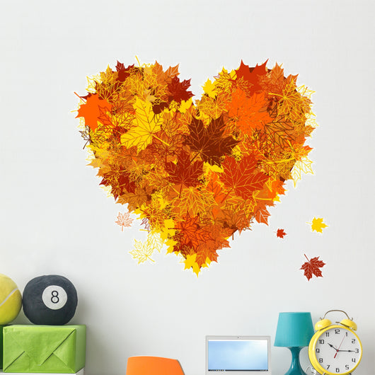 Autumn love, heart shape, leaf Wall Decal