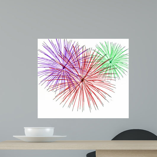 Colorful Fireworks on White Wall Decal