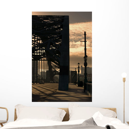 Silhouette Of Bridge Wall Mural