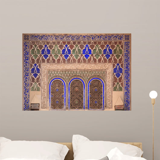 Intricate Painted And Stucco Patterns On The Walls Of A Riad Wall Mural
