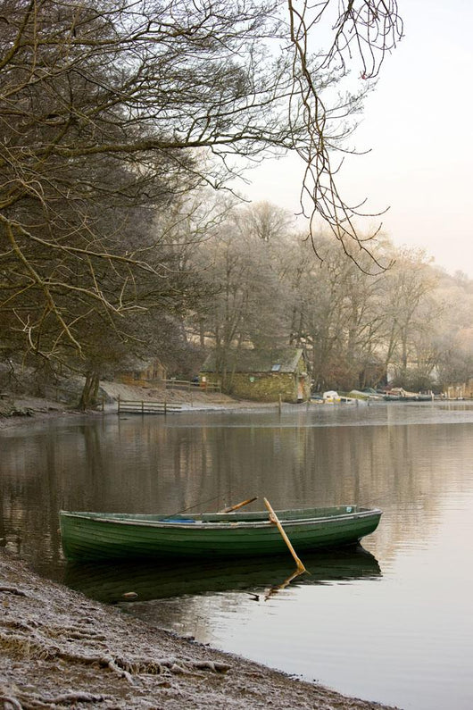 Rowboat Sitting At The Shore Of A Lake, Cumbria, England Wall Mural