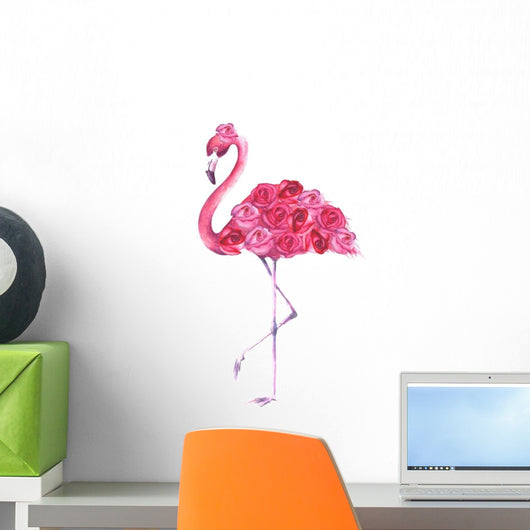 Tropical Pink Rose Flamingo Wall Decal Wallmonkeys Com