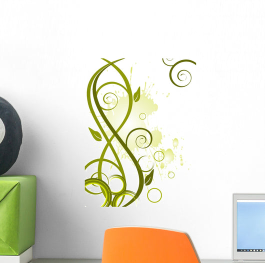 Green floral background Wall Decal