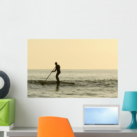 Surfer Steering Into Shore At Dusk Wall Mural